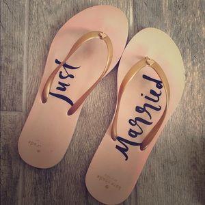 Kate Spade Just Married Flip Flops